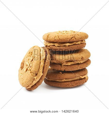 Pile of peanut butter homemade cookies, composition isolated over the white background