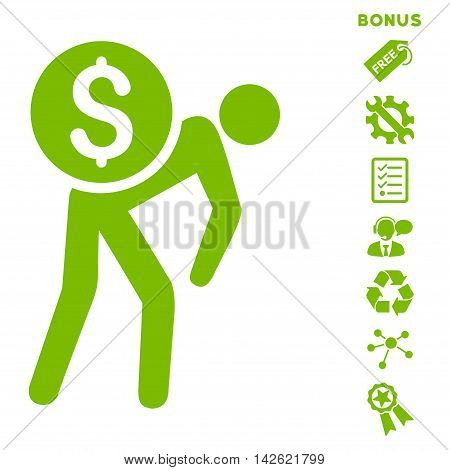 Financial Courier icon with bonus pictograms. Vector illustration style is flat iconic symbols, eco green color, white background, rounded angles.