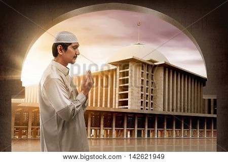 Young Muslim Asian Man Praying To God