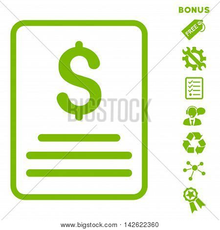 Invoice icon with bonus pictograms. Vector illustration style is flat iconic symbols, eco green color, white background, rounded angles.