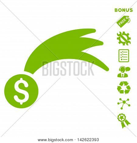 Lucky Money icon with bonus pictograms. Vector illustration style is flat iconic symbols, eco green color, white background, rounded angles.