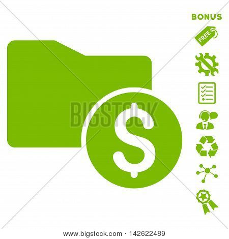 Money Folder icon with bonus pictograms. Vector illustration style is flat iconic symbols, eco green color, white background, rounded angles.