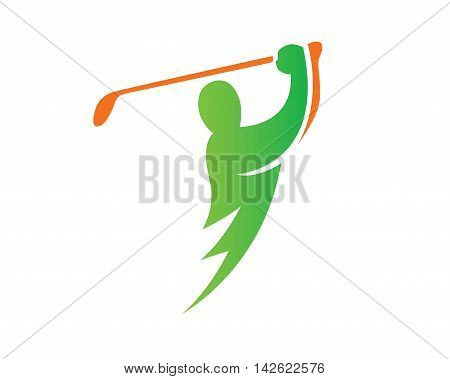 Modern Golf Logo - Green Lightning Golf
