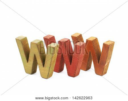 World wide web acronym WWW made of painted wooden letters, composition isolated over the white background