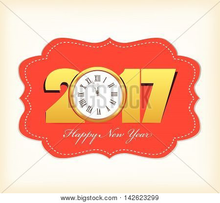 Happy New Year 2017 with clock design