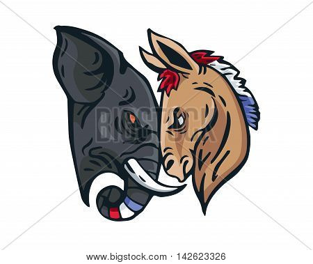 USA Democrat Vs Republican Election 2016 Cartoon - Intense Face To Face