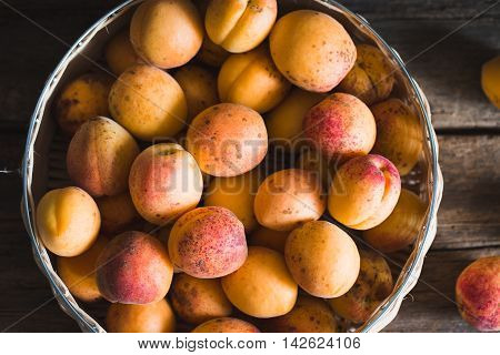Apricots On A Wood Background. Toning. Vegetarian Food. Healthy Life.