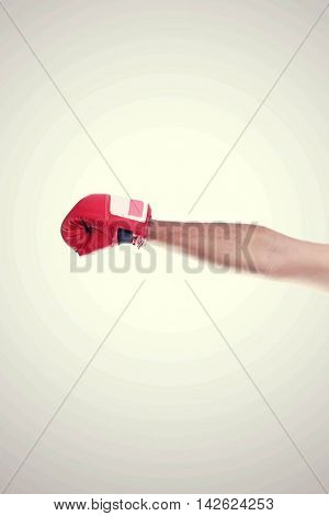 One Hand In The Frame Wearing Red Hot Boxing Gloves Isolated On White