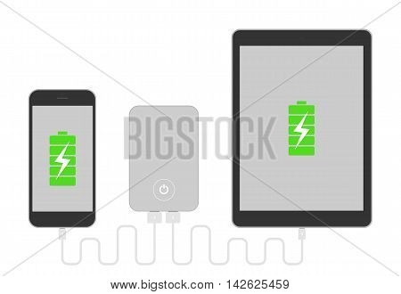 Gadgets with powerbank. Phone and tablet charging with portable powerbank. Low battery. Isolated gadgets on white background.