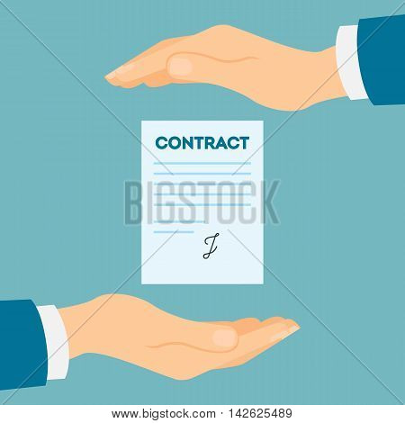 Business contract protection. Company insurance. protection from risks and accidents.