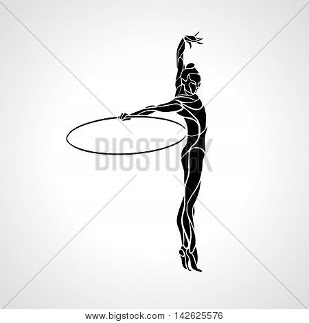 Rhythmic Gymnastics with Hoop black Silhouette on white background. Vector illustration. eps 8