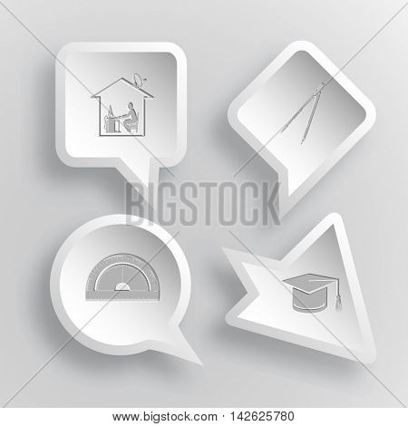 4 images: home work, caliper, protractor, graduation cap. Education set. Paper stickers. Vector illustration icons.