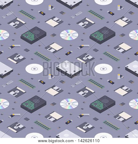 Isometric flat digital memory storages seamless pattern against the dark-purple background