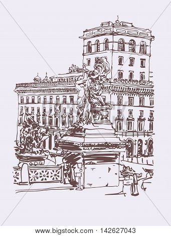 original freehand sepia travel card from Rome Italy, old italian imperial building and sculpture monument, travel book vector illustration