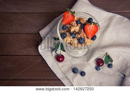 Healthy Breakfast. Bowl Of Muesli With Berries