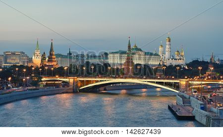 Moscow, Russia - August 06 2016: Night View Of Kremlin