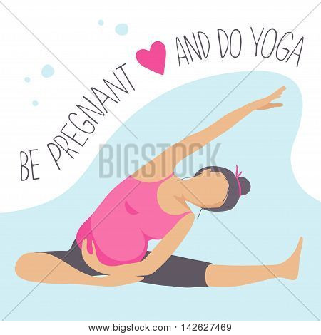 Prenatal Yoga. Pregnant woman doing exercise. Vector illustration