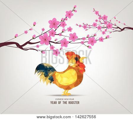 Blossom chinese new year 2017 rooster and background