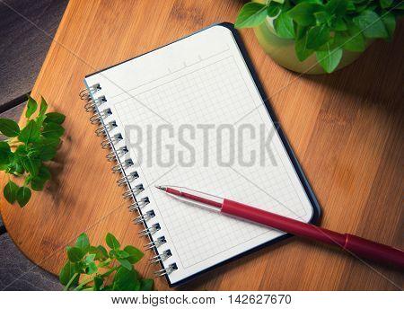 Blank Notebook On A Cutting Board