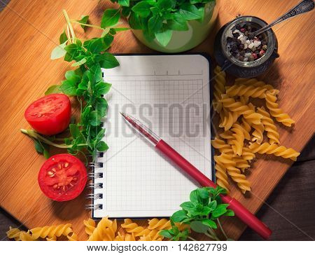 Top View Of An Empty Recipe Book