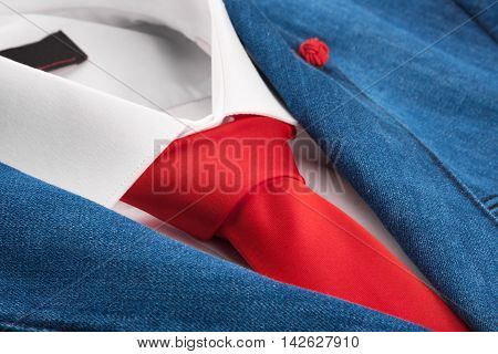 Denim jacket and red tie men's fashion with space for your text