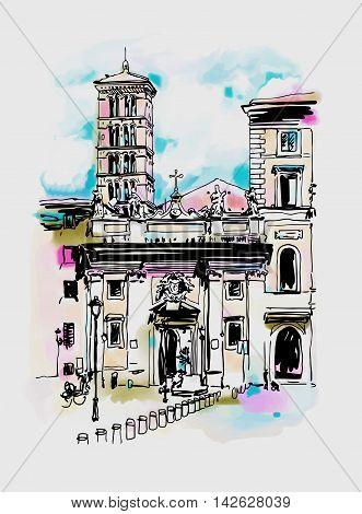 original digital watercolor drawing of Rome street, Italy, old italian imperial building, travel book vector illustration