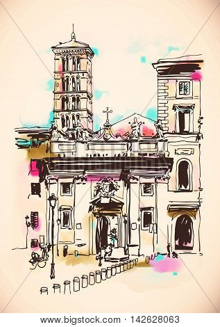 original freehand watercolor travel card from Rome Italy, old italian imperial building, travel book vector illustration