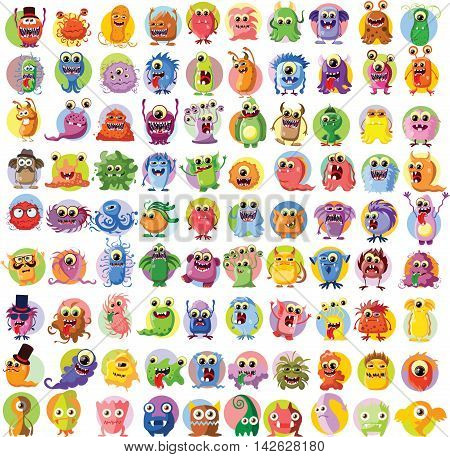 Large vector set of drawings of different characters isolated monsters, germs, bacteria, aliens and other Halloween characters for your design, prints and banners