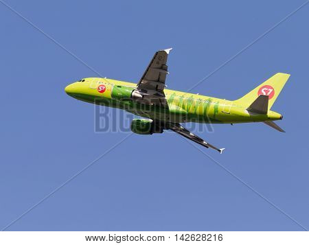 The Moscow region - 31 July 2016: Green passenger aircraft Airbus A319-114 S7 Airlines takes off and takes place in Domodedovo airport July 31 2016 Moscow Region Russia
