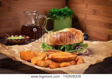 Burger And Potato On Rustic