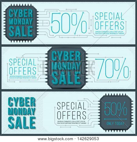 Cyber Monday banner design. Monday sale. Web elements with banners and discounts.