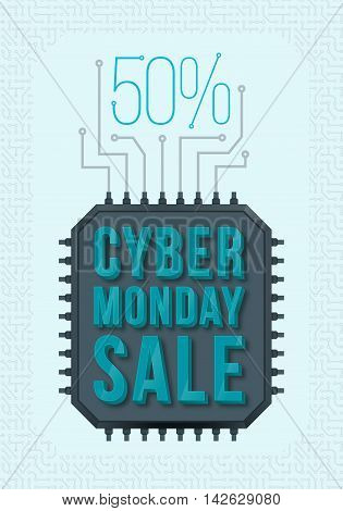 Cyber Monday poster design. Monday sale. Special offers sale