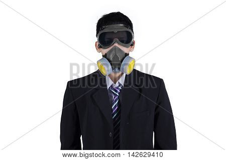 Young businessman wearing formal suit and a gas mask in the studio isolated on white background
