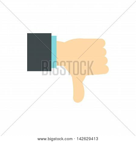 Gesture thumbs down icon in flat style isolated on white background. Gestural symbol