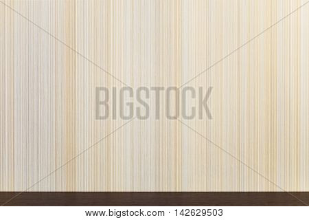 Wooden surface wenge color on the background wall with texture in a vertical strip. Minimalism. Background with copy space.
