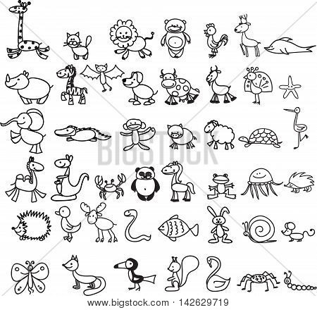 Children's drawings of doodle animals, vector illustration
