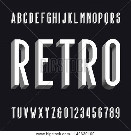 Volumetric retro alphabet font. volume type letters and numbers. Vector typography for labels, titles, posters etc.