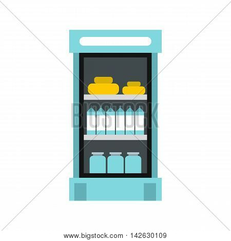 Refrigerator with products in store icon in flat style isolated on white background. Storage symbol