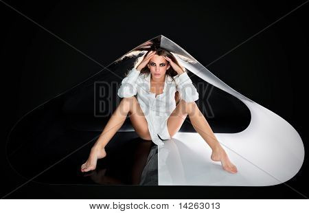 Young Beautiful Sexy Lady With Long Hairs In Abstract Plastic Tube, Ring Flash Fashion Portrait