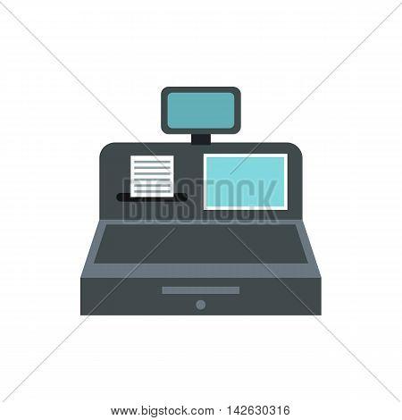 Cash register icon in flat style isolated on white background. Money symbol