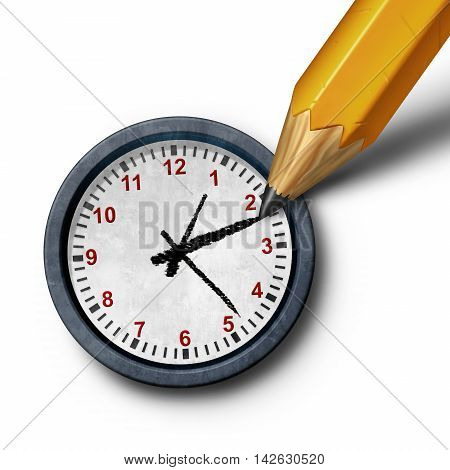 Planning time business management schedule concept as a pencil drawing the hour and minute hands on a clock as a control metaphor as a 3D illustration.