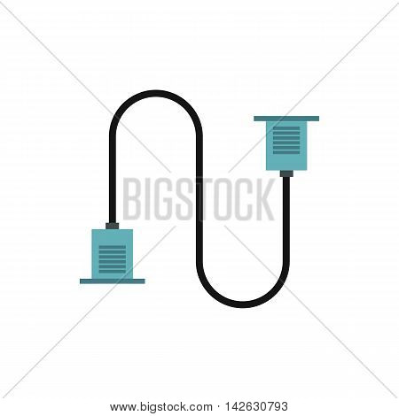 Cord VGA icon in flat style isolated on white background. Cable symbol