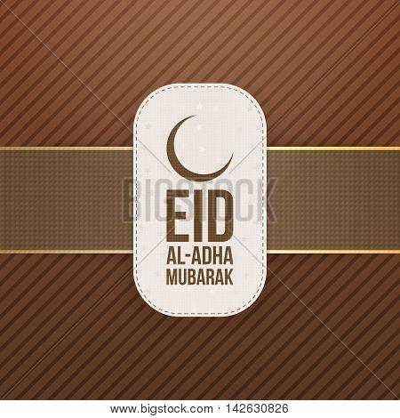 Eid al-Adha Mubarak textile Tag. Vector Illustration
