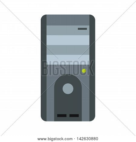System unit of a computer icon in flat style isolated on white background. Equipment symbol