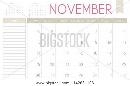 Vector Business Planning Calendar Of November 2017 With A Place For Notes. Weeks Start On Sunday