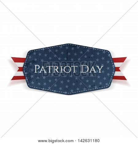 Patriot Day Text on Banner with Ribbon. Vector Illustration