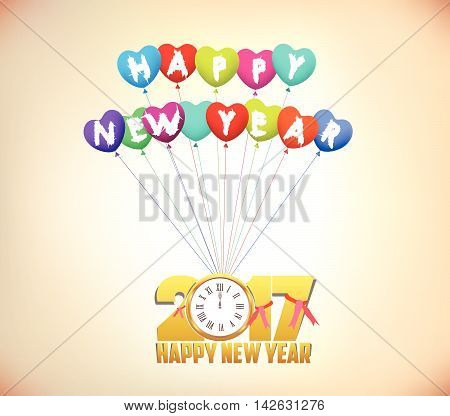 Happy New Year 2017 background with gold clock and balloons