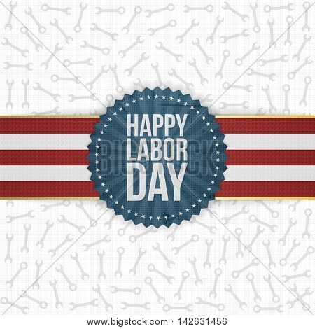 Happy Labor Day greeting Label. Vector Illustration