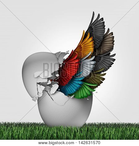 Business organization start as a concept for a new startup corporation or starting a venture with diversity for teamwork success as a group of diverse wings emerging out from an egg with 3D illustration elements.
