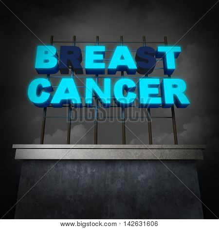 Breast cancer awareness and treatment concept to beat tumor growth as a medical icon with partially illuminated signage text on a building billboard as a medicine cure symbol as a 3D illustration.
